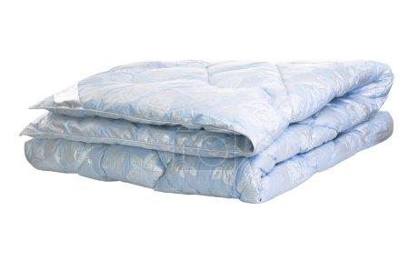 Photo pour Couette couverture bleue isolée sur fond blanc - image libre de droit
