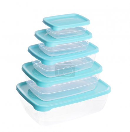 Stack of plastic containers for food
