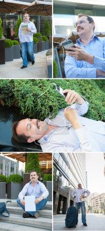 Urban man using smart phone outside using app on 4g wireless dev