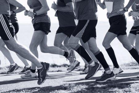 Photo pour Groupe de coureurs de participer à la course sur route côtière - image libre de droit