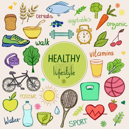 Illustration for Healthy lifestyle background. Colorful sketch style objects, items and food. - Royalty Free Image