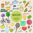 Healthy lifestyle background. Colorful sketch styl...