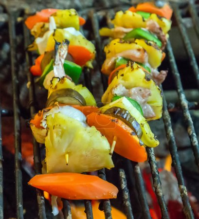 Grill cooking seafood top view