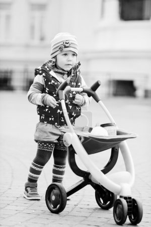 toddler and stroller
