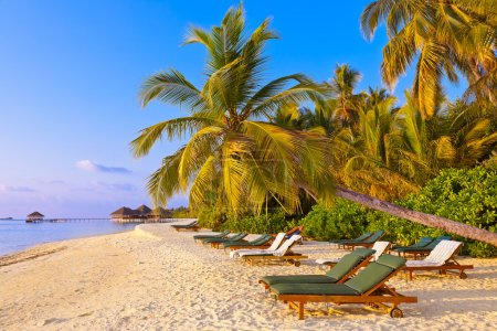 Chairs on Maldives beach - nature vacation backgro...