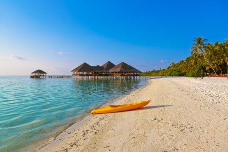 Photo for Boat on Maldives beach - nature vacation background - Royalty Free Image