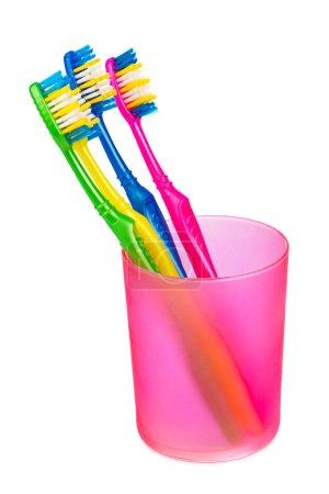 Photo pour Brosses à dents en verre isolé sur fond blanc - image libre de droit