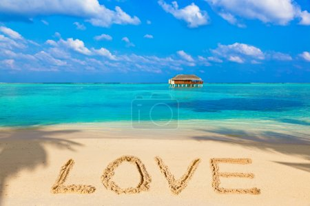 Word Love on beach
