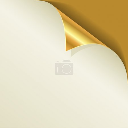 Golden page curl with shadow vector template.