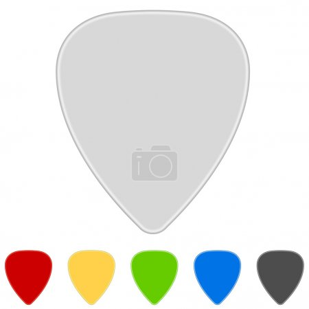 Illustration for Blank color guitar picks isolated on white background. - Royalty Free Image
