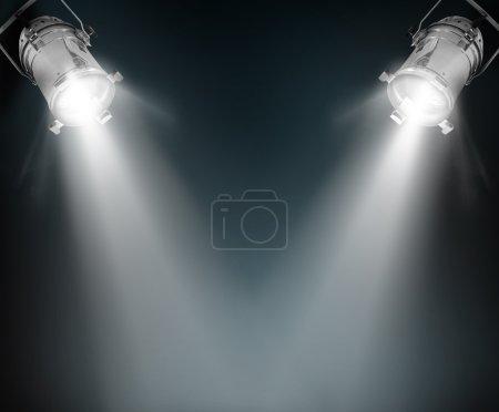 Spotlights in dark