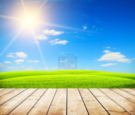 Photo for Green field under blue sky. Wooden floor - Royalty Free Image