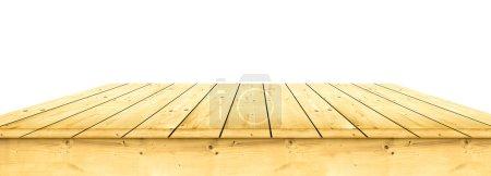 Photo pour Table en bois vide sur fond blanc - image libre de droit