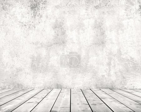Photo for Grey cement wall and wooden floor - Royalty Free Image
