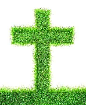Cross from green grass.