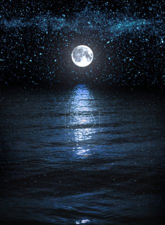 Photo for Night background with moon and stars over the water. Elements of this image furnished by NASA - Royalty Free Image