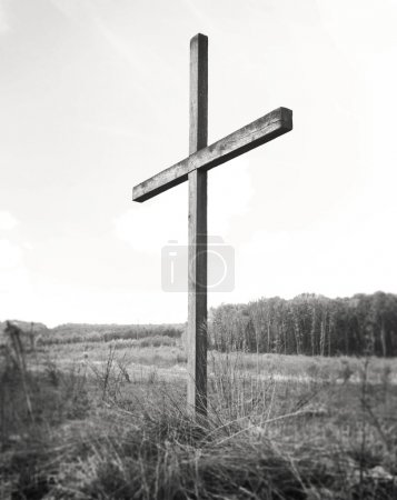 wooden cross on blured background