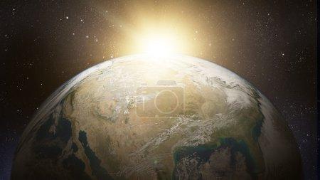 Photo pour Notre terre dans le cosmos et le soleil. Éléments de cette image fournie par la Nasa - image libre de droit