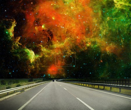 Road and cosmos sky.