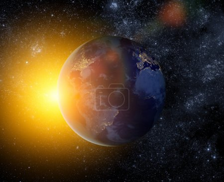 Earth and bright sun