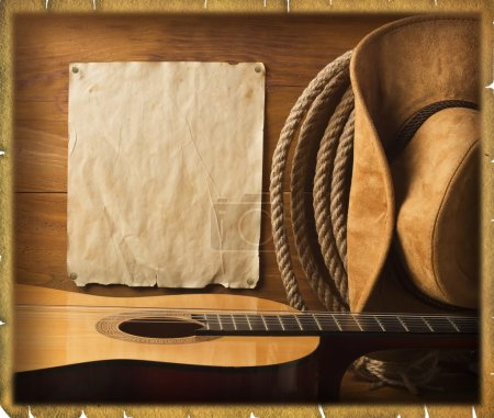 Photo for American cowboy Country music background with old paper texture for text - Royalty Free Image