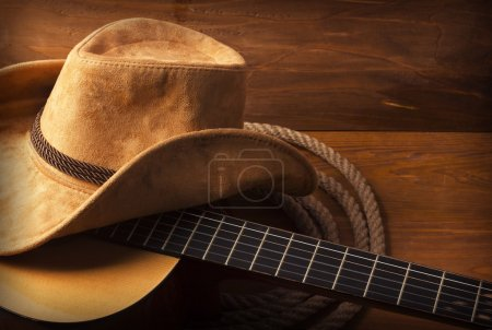 Photo for American Country music background with guitar and cowboy hat - Royalty Free Image