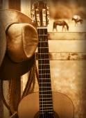Kovbojský klobouk a kytaru. Americký hudební pozadí