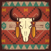 Vector skull bull with ethnic ornament on old textureNative indian illustration