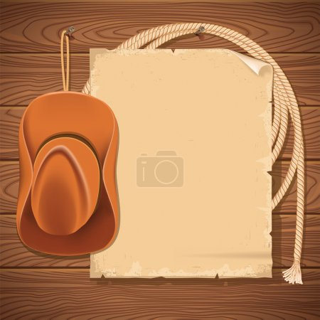 Illustration pour Fond ouest sauvage avec chapeau de cow-boy et lasso.Vector américain vieux papier pour texte sur mur en bois - image libre de droit