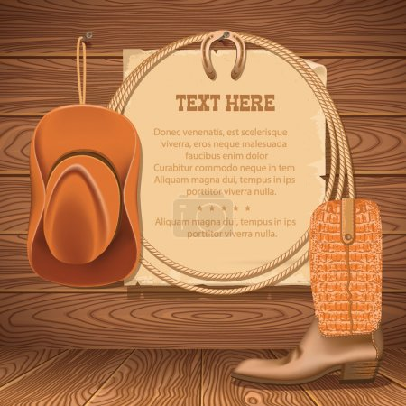 cowboy hat and american lasso.Vector old paper for text on wood