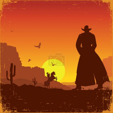 Illustration for Wild West american poster.Vector western illustration with cowboys - Royalty Free Image