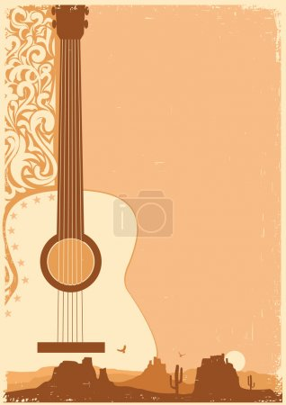 Illustration for Country music poster with guitar on old paper texture for text - Royalty Free Image