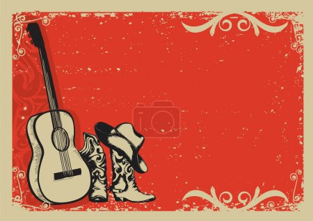 Vintage poster with cowboy boots and music guitar