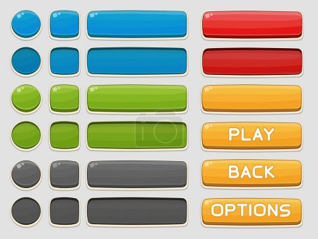 Illustration for Interface buttons set for games or apps. Vector illustration. Isolated on white - Royalty Free Image