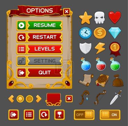 Illustration pour Jeu médiéval GUI pack. Illustration vectorielle - image libre de droit