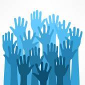 Raised hands on white vector illustration