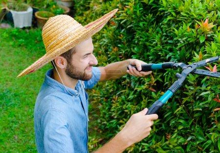 Photo pour Homme coupe des buissons avec des tondeuses près de la maison - image libre de droit