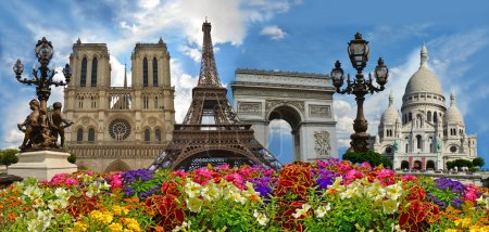 Travel background. Symbols of Paris: Eiffel Tower, Cathedral of Notre Dame de Paris, Sacre Coeur Basilica, Arc de Triomphe, Street lamps of Alexandre III bridge