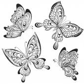 Vector set of black and white calligraphic butterflies isolated on white background Tattoo design