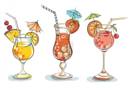Illustration pour Illustration vectorielle dessinée à la main de cocktail tropical . - image libre de droit