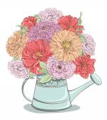 Beautiful bouquet of flowers in watering can isolated on white background Hand drawn vector illustration