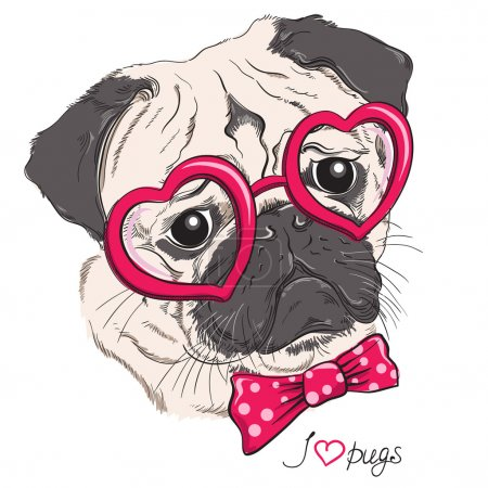 Illustration for Fashion portrait of pug dog hipster in hearts glasses isolated on white. Vector hand drawn illustration - Royalty Free Image