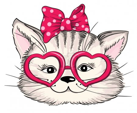 Fashion portrait of hipster cat in hearts glasses isolated on white. Vector hand drawn illustration