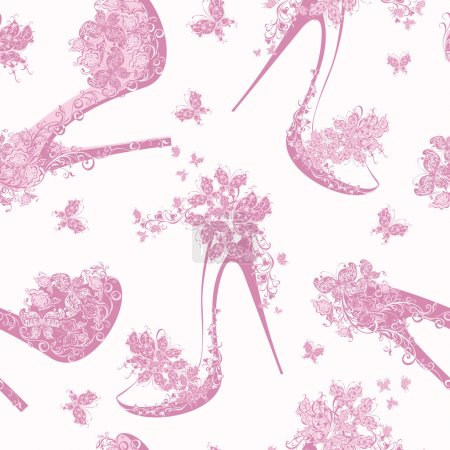 Seamless fashion pattern with women shoes, high heels, flowers and butterfly