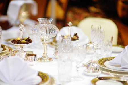 Beautiful table set for festive event