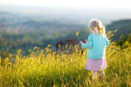 little girl having fun in a meadow