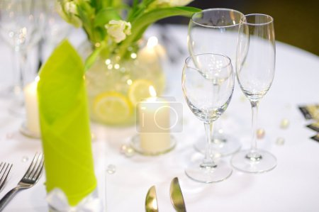 Photo for Beautiful table set for some festive event, party or wedding reception - Royalty Free Image