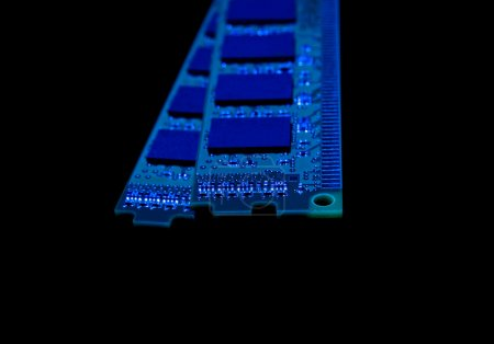 Photo for Electronic collection - computer random access memory (RAM) modules on the black background toned blue - Royalty Free Image