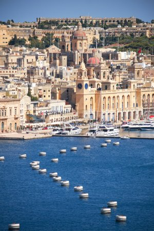 The view of Birgu peninsula from the bordering terrace of the Up