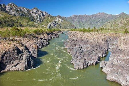 Photo pour Rapides Teldykpen sur la rivière Altai Katun près d'Oroctoi, Sibérie, Russie - image libre de droit